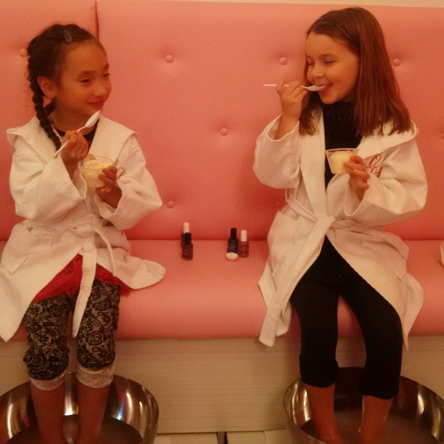 My favourite photo: Little One and her BFF chatting over ice cream while they had their pedicures done. Precious!