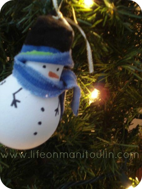 frosty light bulb ornament