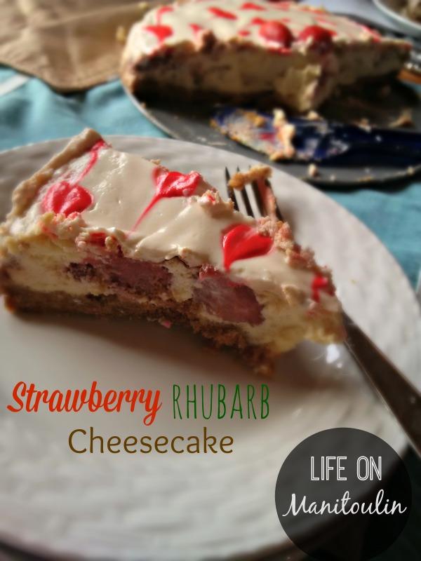strawberry rhubarb cheesecake slice