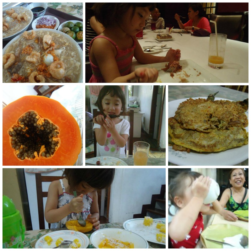 Little One in the Philippines in May 2012. She really surprised everyone (including me). She ate everything she was offered.