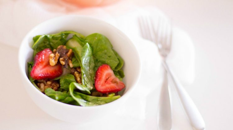 Spinach Salad with Strawberries, Cucumber, and Candied Walnuts